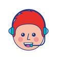 happy young boy avatar wearing headset vector image vector image