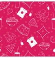 Hot Pink Pajama Party Food Objects Seamless vector image