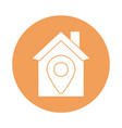 house with pin location silhouette block style vector image vector image