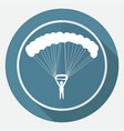 icon parachute on white circle with a long shadow vector image vector image