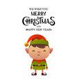little cute cartoon elf on white background vector image vector image