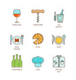 minimal lineart flat restaurant iconset vector image vector image