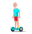 old man on hoverboard riding on gyro vector image vector image