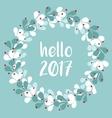 Pastel laurel wreath hello New Year 2017 vector image vector image