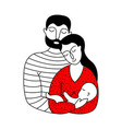 portrait of happy young couple with their child vector image