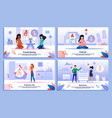 pregnant woman activities flat posters set vector image vector image