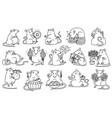 rat set chinese new year symbols cute mouse holds vector image vector image