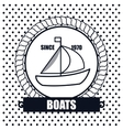 sailing boat icon background dot design vector image vector image