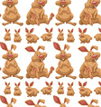 Seamless design with cute rabbits vector image vector image