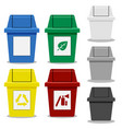 set of trash bin with symbol in flat icon style vector image vector image