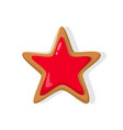 star bright red baked holiday gingerbread vector image vector image