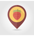 Strawberry flat pin map icon Berry fruit vector image vector image