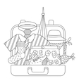 Suitcase with clothes icons set outline style vector image vector image