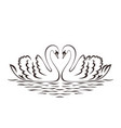 swan couple silhouette vector image vector image