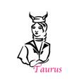 taurus woman vector image