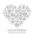 volunteer line poster charity and donation banner vector image