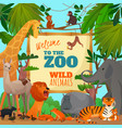 welcome to zoo cartoon poster vector image vector image