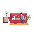 young woman with her dog at home vector image