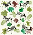 zebra and tropical leaves vector image vector image