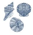 Zentangle stylized set blue seashells Hand Drawn vector image