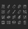 Zero waste swaps handmade chalk icons set