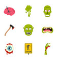 zombie icon set flat style vector image vector image