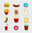 fast food cartoon stickers vector image