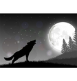 Silhouette of a wolf standing on a hill vector image
