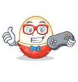 gamer rambutan mascot cartoon style vector image