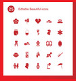 25 beautiful icons vector image vector image