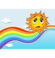 A sad sun near the rainbow vector image vector image