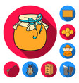 apiary and beekeeping flat icons in set collection vector image
