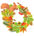 Autumn wreath with squirrel vector image vector image
