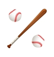 Baseball bat and balls on white vector image