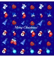 Big set of Christmas toys on a blue background vector image vector image