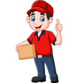 cartoon delivery courier holding cardboard boxes a vector image vector image