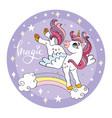 cartoon unicorn jumping on rainbow vector image