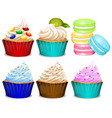 different flavor of cupcakes vector image vector image