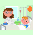 doctor and sick boy in hospital vector image