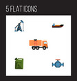 flat icon oil set of fuel canister rig van and vector image vector image
