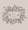 floral frame with flowers branches leaves vector image vector image