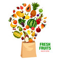 fresh fruits healthy eating in shopping bag vector image vector image