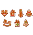 Gingerbread christmas objects set vector image