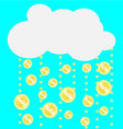 Gold coins falling from the clouds vector image