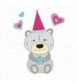 greeting with cartoon bear vector image