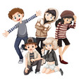 group of happy teenagers vector image vector image