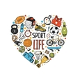 Hand drawn doodle sports symbols in heart vector image