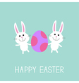 Happy Easter Two bunny rabbit and egg Flat design vector image vector image