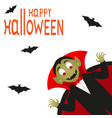 happy halloween text logo cartoon vampire and bats vector image