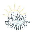 hello summer of sun icon and sea vector image vector image